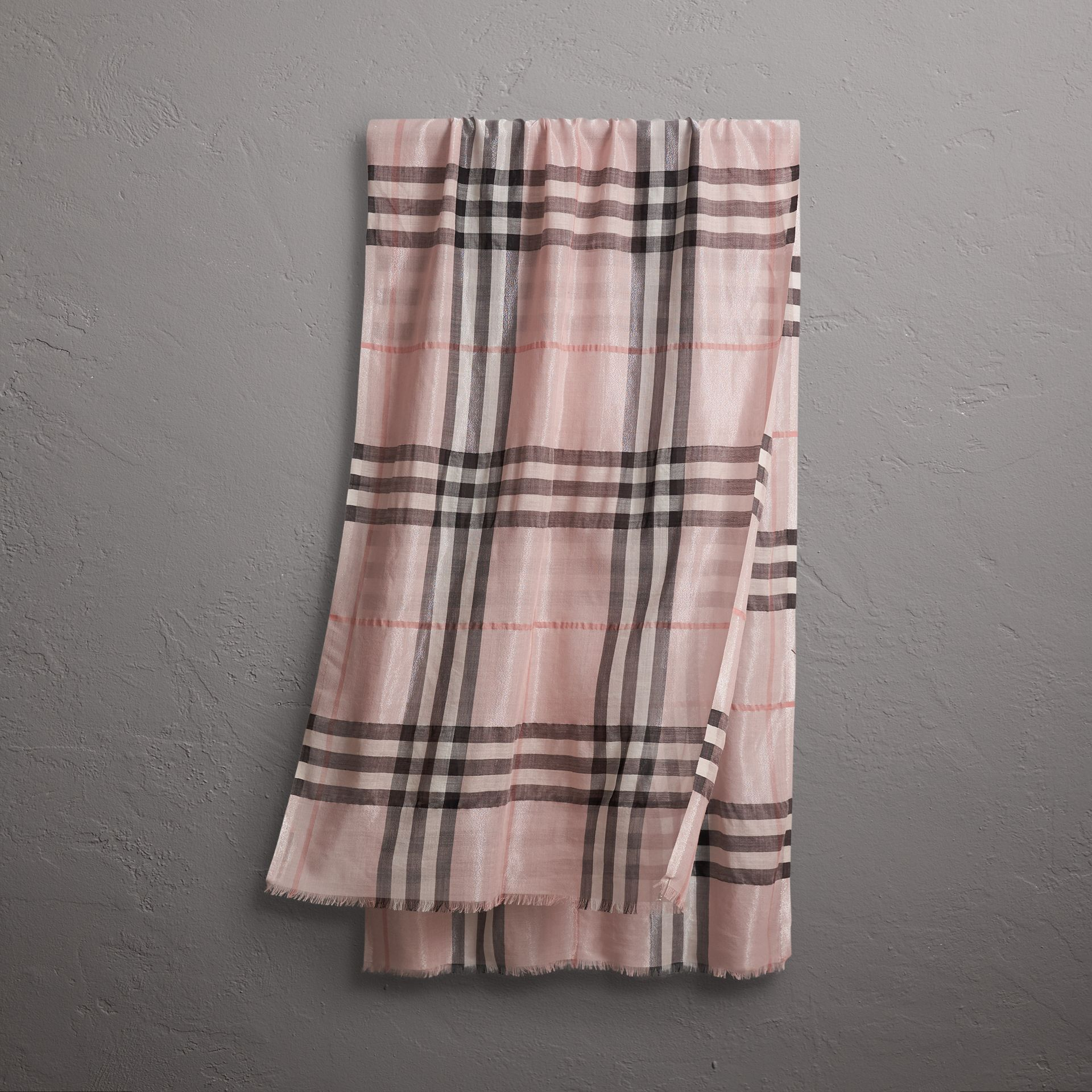Metallic Check Silk and Wool Scarf in Ash Rose/silver - Women | Burberry - gallery image 0