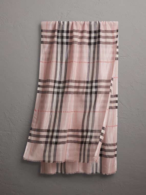 Metallic Check Silk and Wool Scarf in Ash Rose/silver