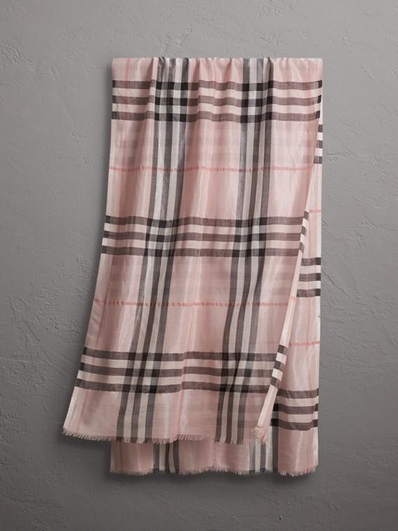 Sciarpa effetto metallizzato in seta e lana con motivo tartan (Rosa Cenere/argento)