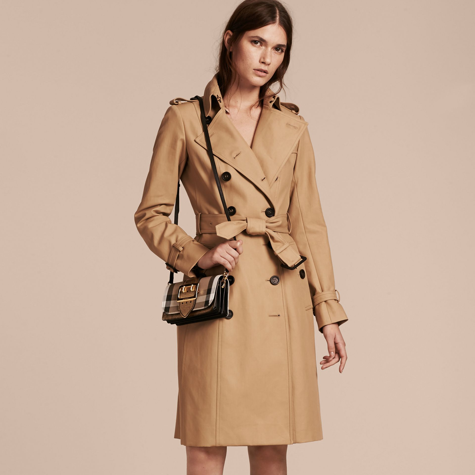 The Small Buckle Bag in House Check and Leather in Gold - Women | Burberry United Kingdom - gallery image 2