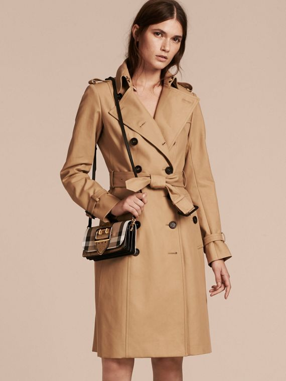 The Small Buckle Bag in House Check and Leather in Gold - Women | Burberry Australia - cell image 2