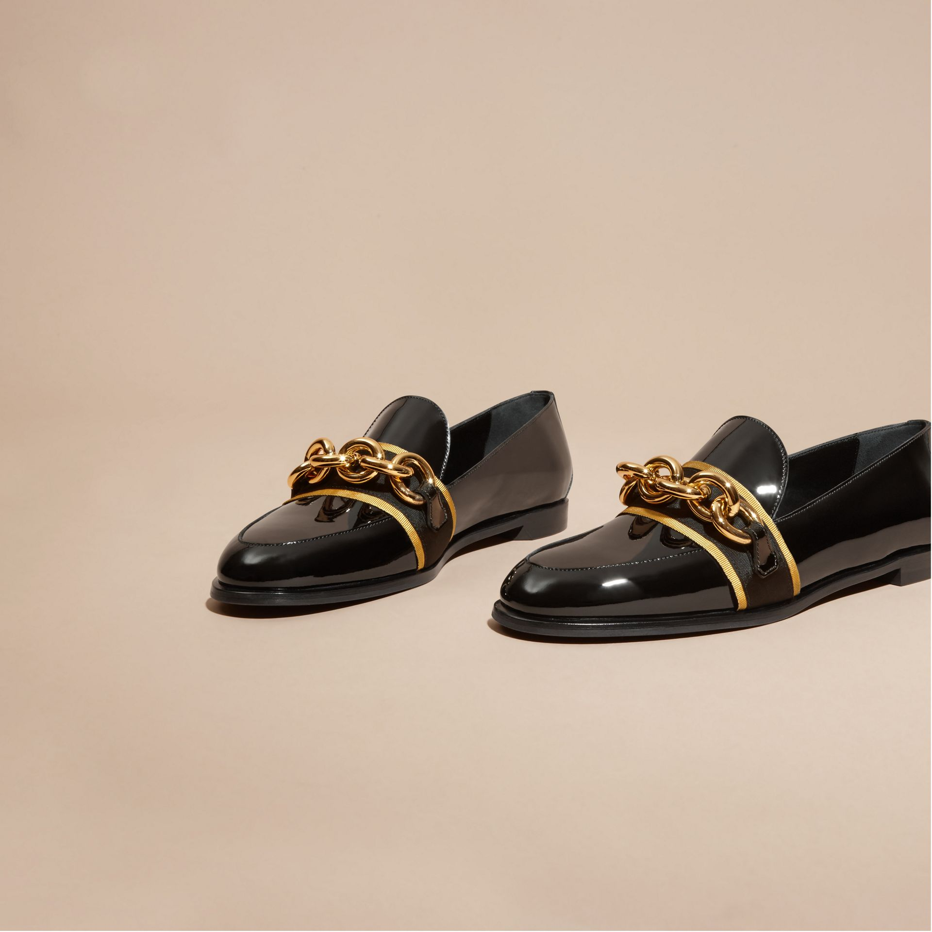 Black/gold Chain Detail Leather Loafers - gallery image 3