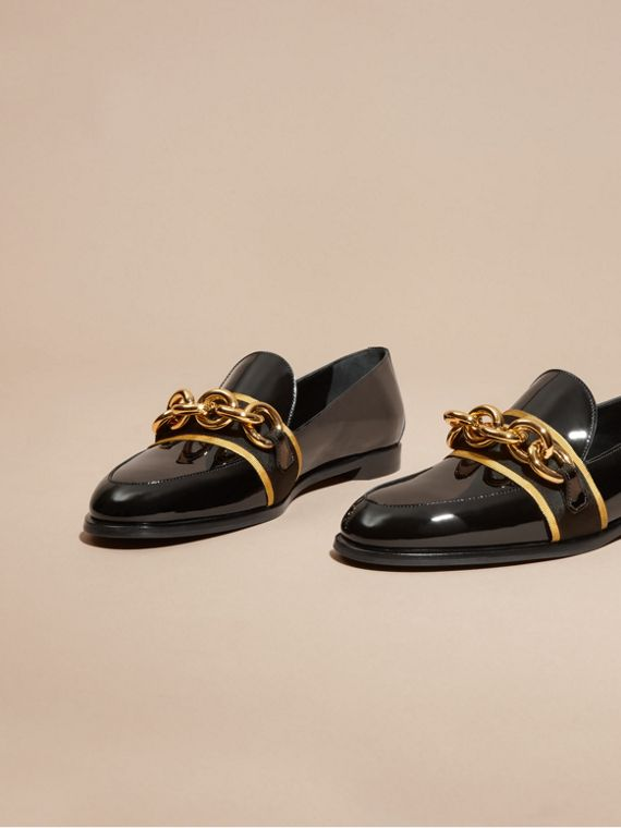 Black/gold Chain Detail Leather Loafers - cell image 2
