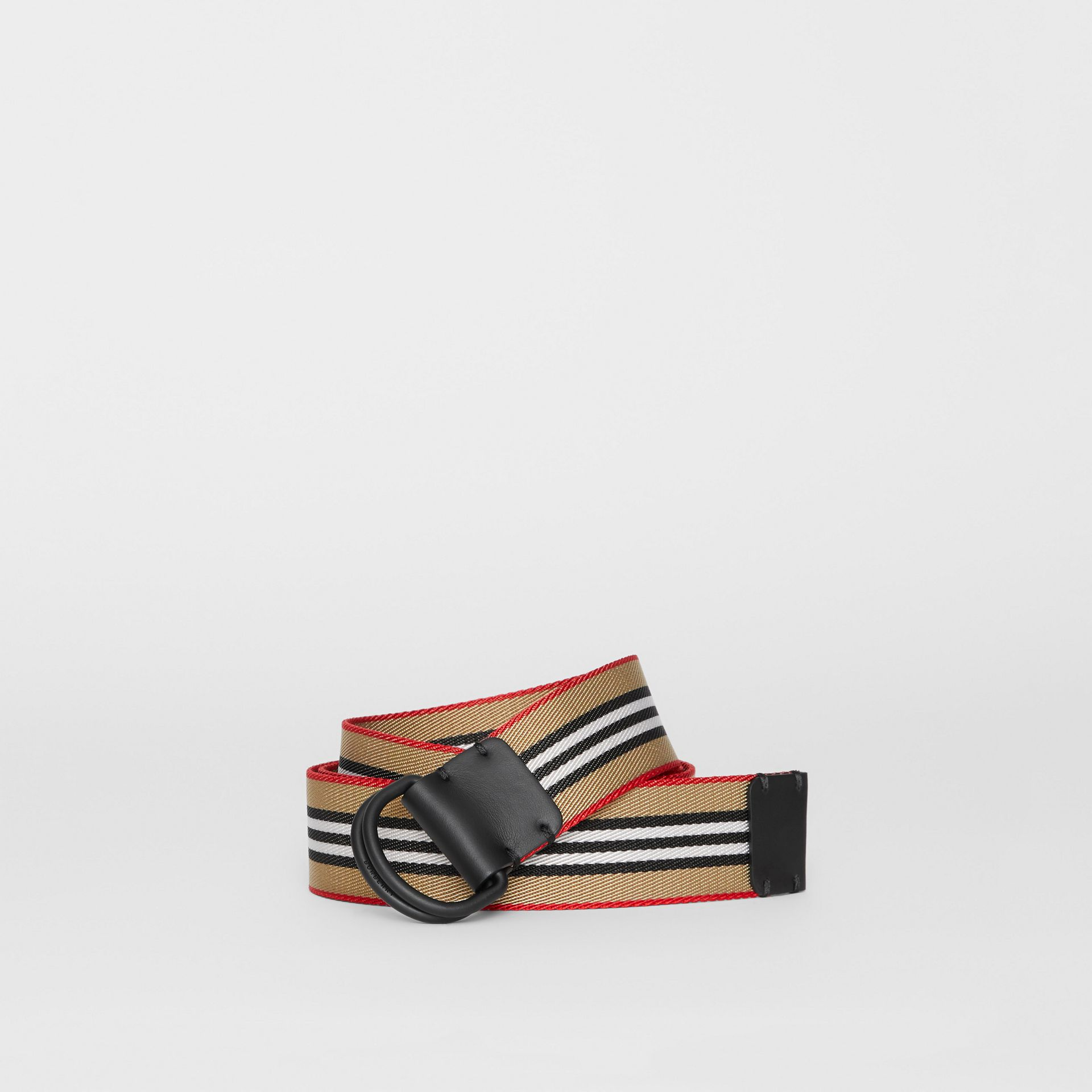 Icon Stripe Double D-ring Belt in Archive Beige - Men | Burberry United Kingdom - gallery image 0