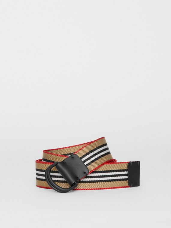 Icon Stripe Double D-ring Belt in Archive Beige