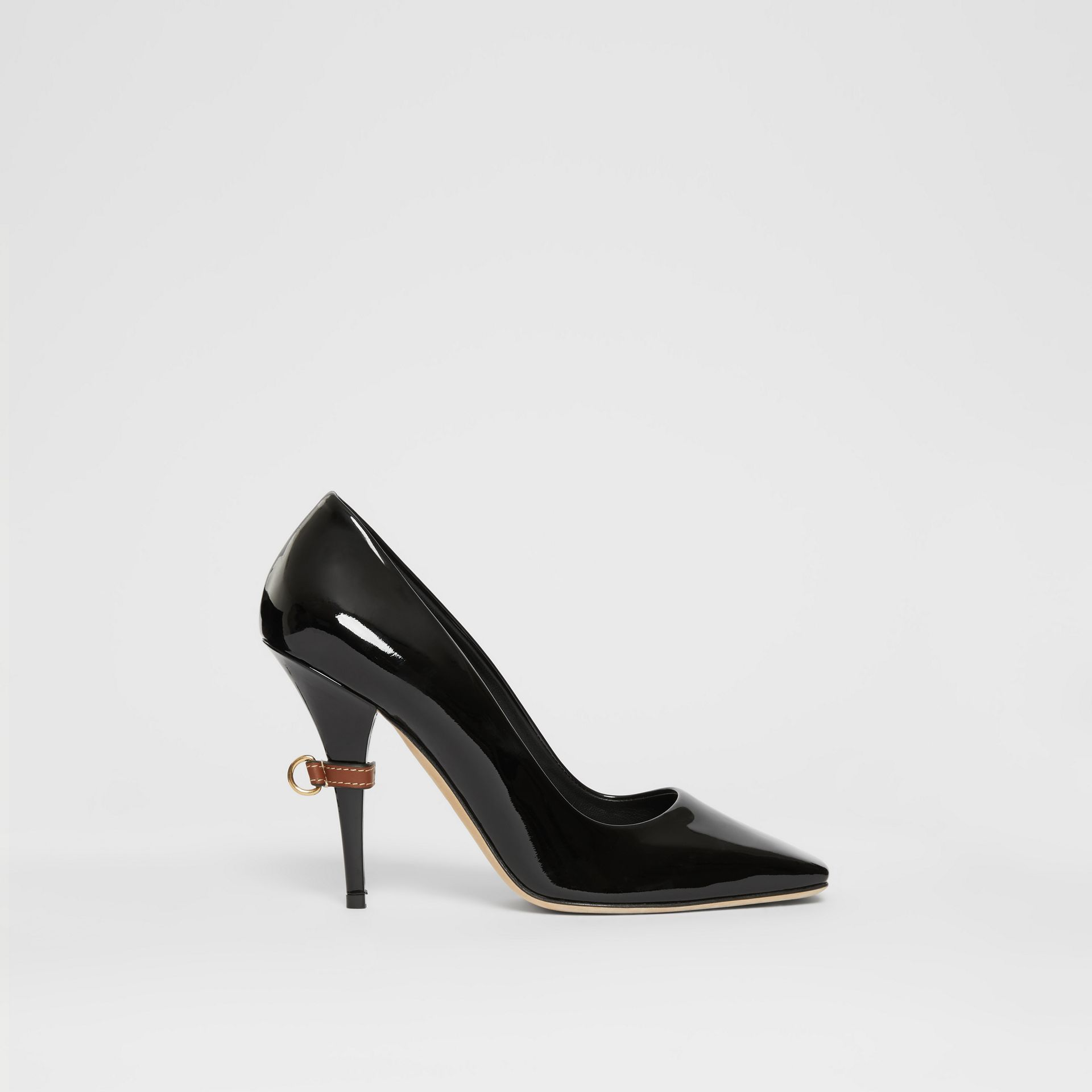 D-ring Detail Patent Leather Square-toe Pumps in Black - Women | Burberry - gallery image 5