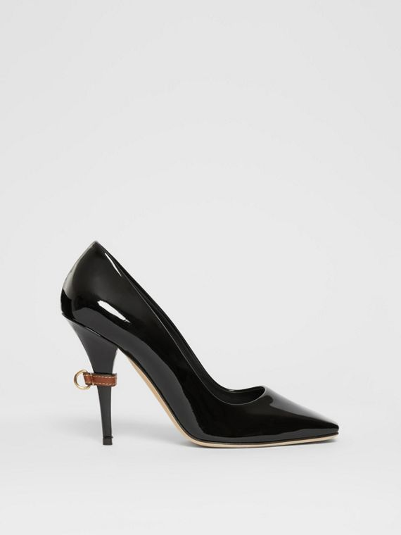 D-ring Detail Patent Leather Square-toe Pumps in Black