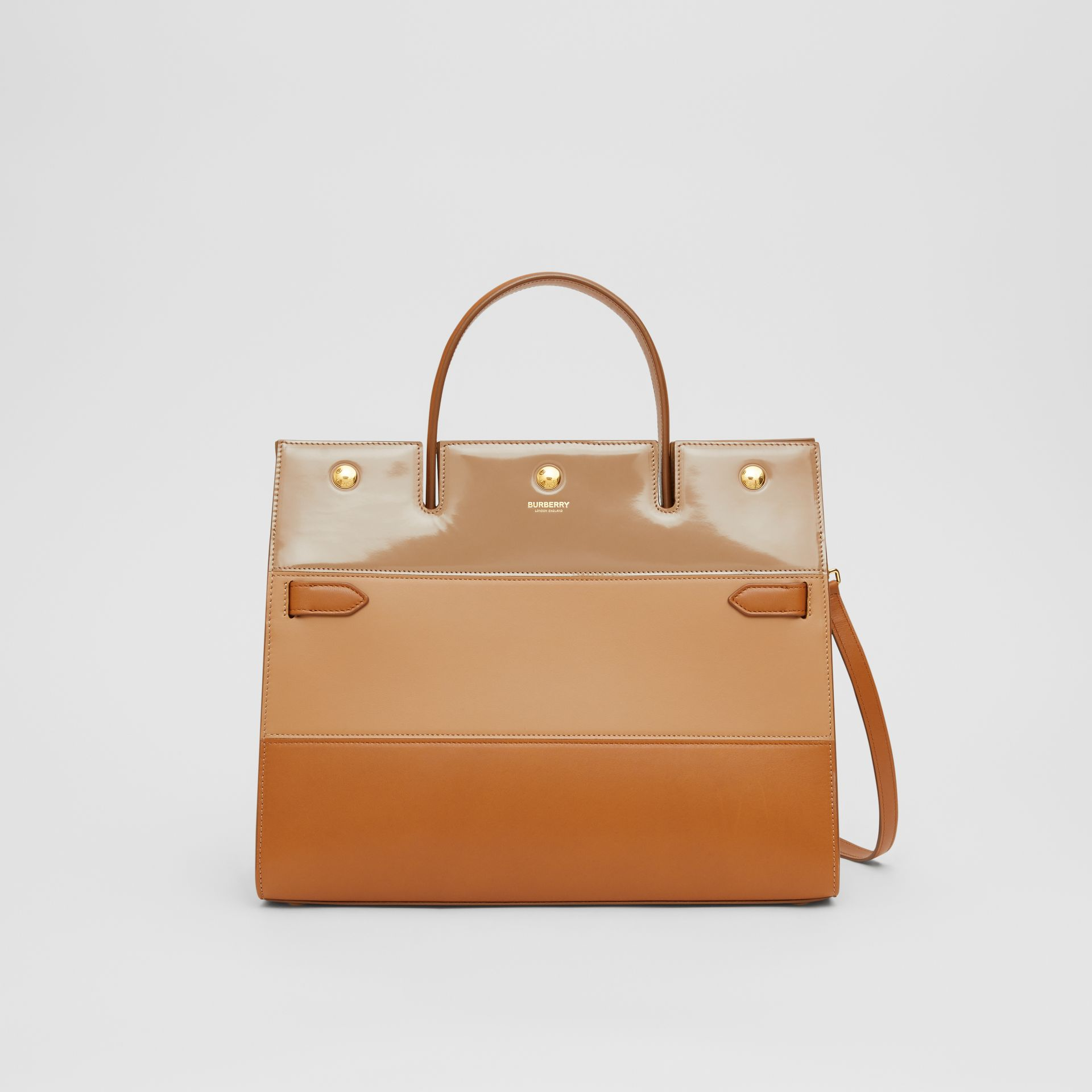 Medium Panelled Leather Title Bag in Soft Fawn - Women | Burberry - gallery image 0