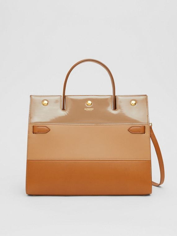 Medium Panelled Leather Title Bag in Soft Fawn