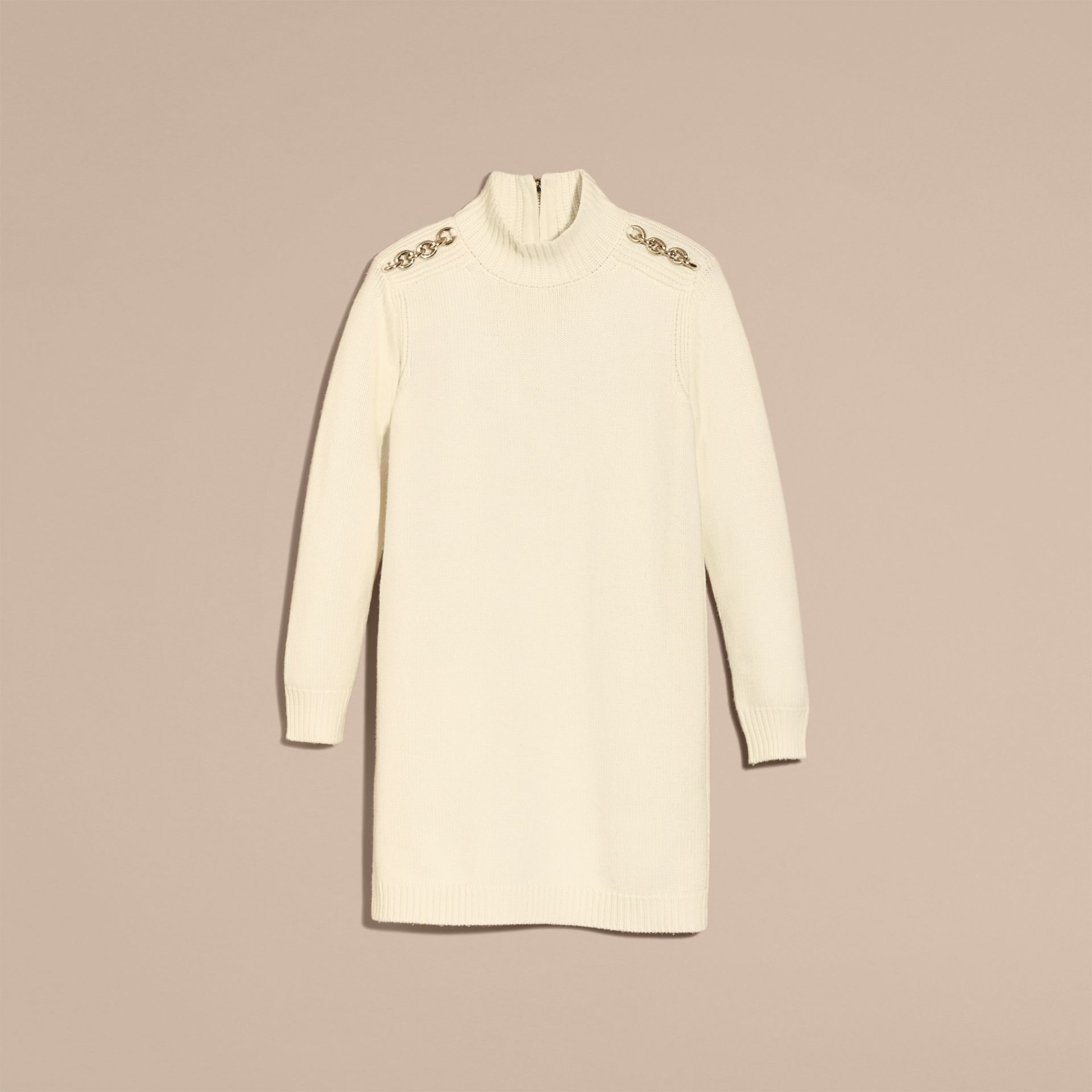 Natural white Regimental Detail Wool Cashmere High-neck Dress - gallery image 4