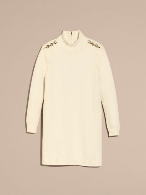 Chain Detail Wool Cashmere High-neck Dress in Natural White - cell image 3