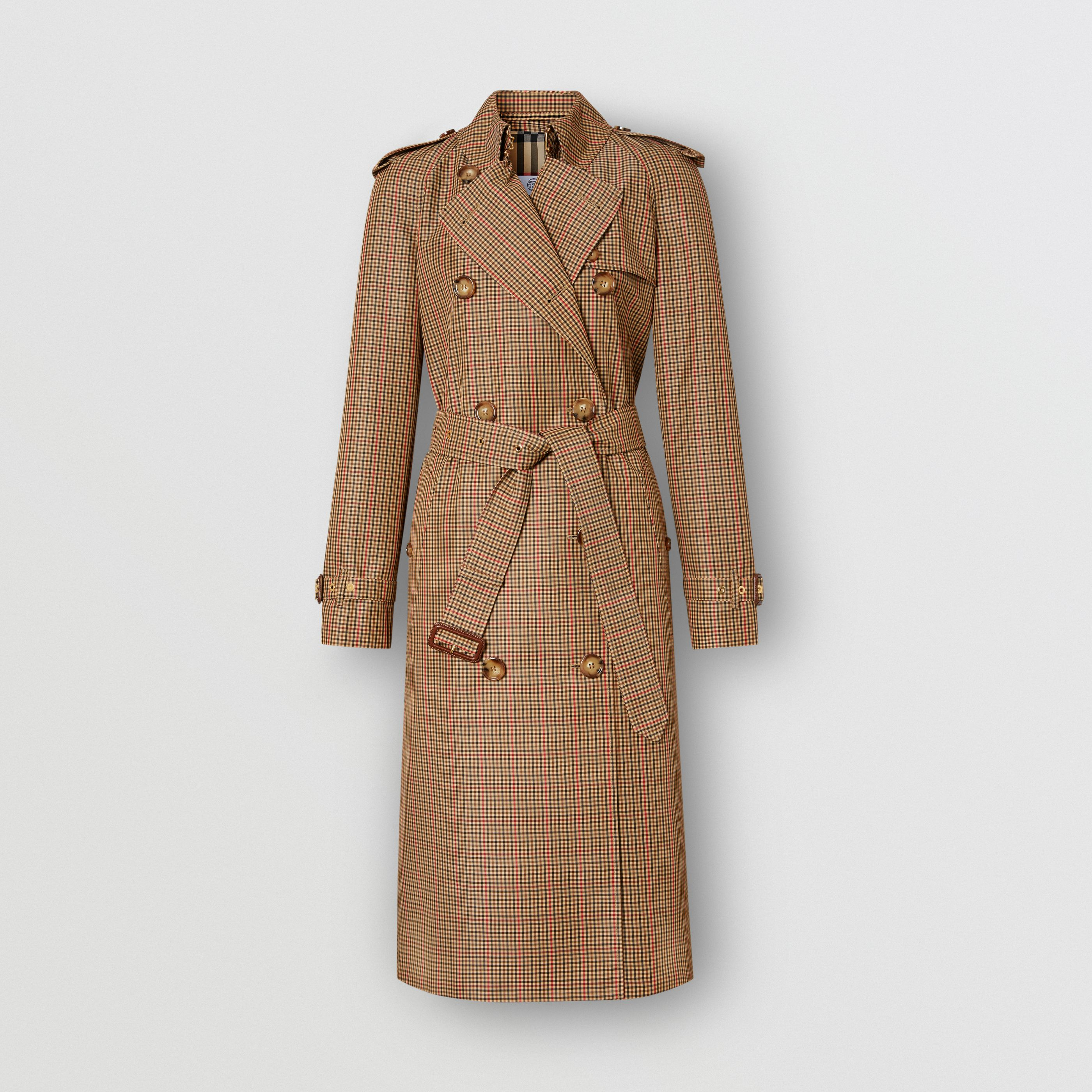 Trench coat in poliestere riciclato con motivo tartan (Marrone) - Donna | Burberry - 4