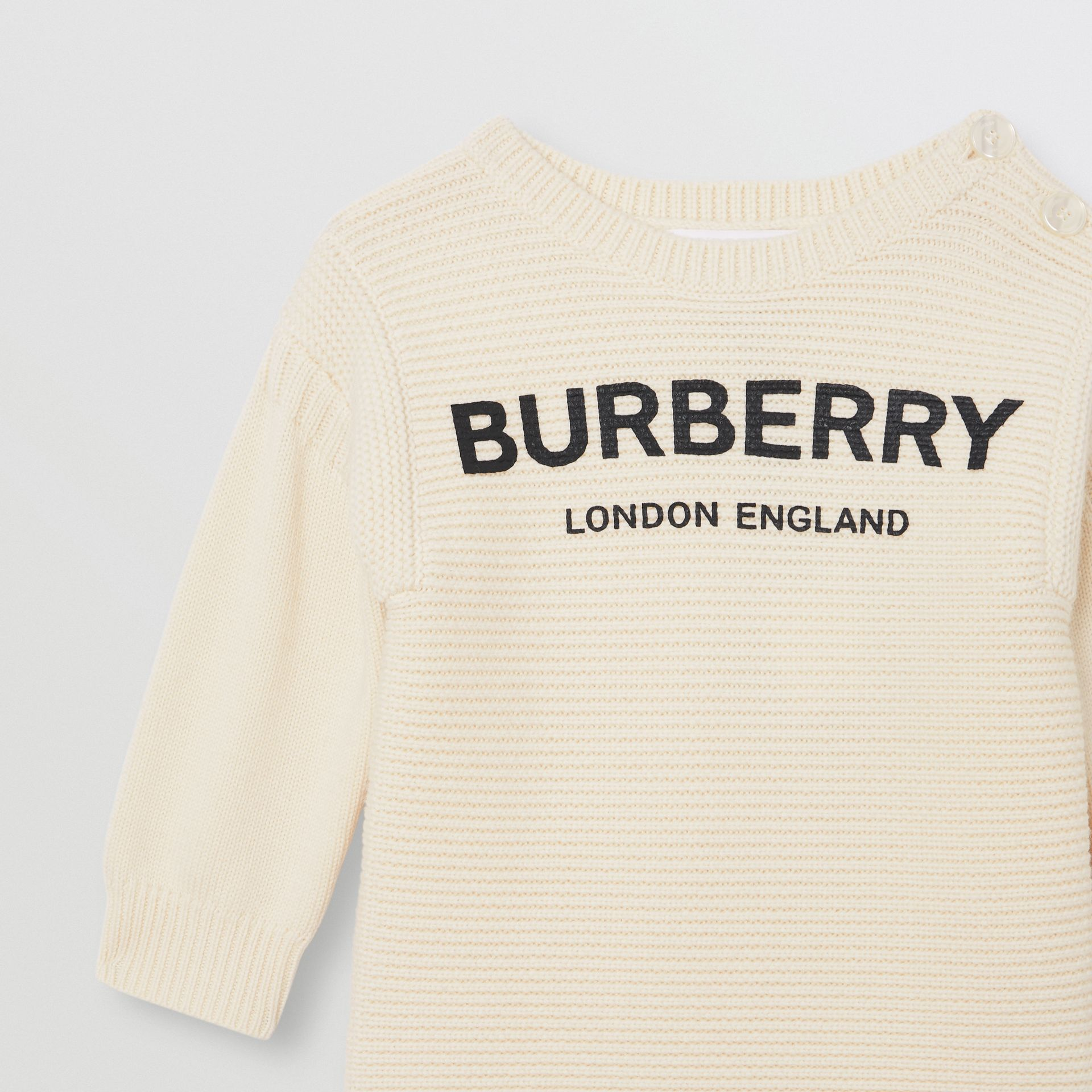 Logo Print Rib Knit Merino Wool Sweater Dress in Ivory - Children | Burberry - gallery image 4