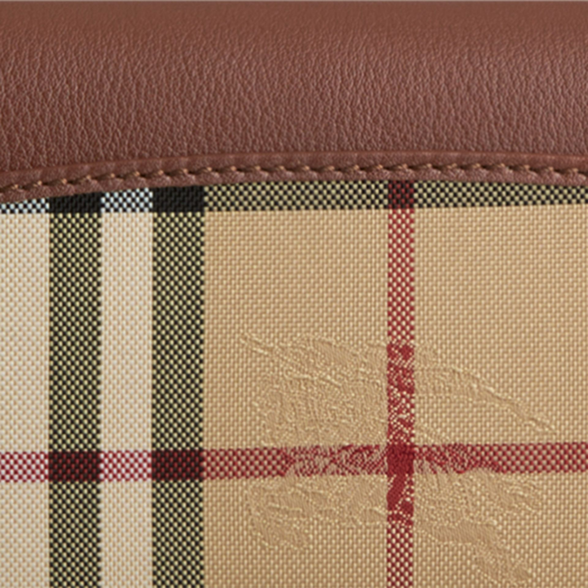 Horseferry Check and Leather Continental Wallet in Tan - Women | Burberry Hong Kong - gallery image 2