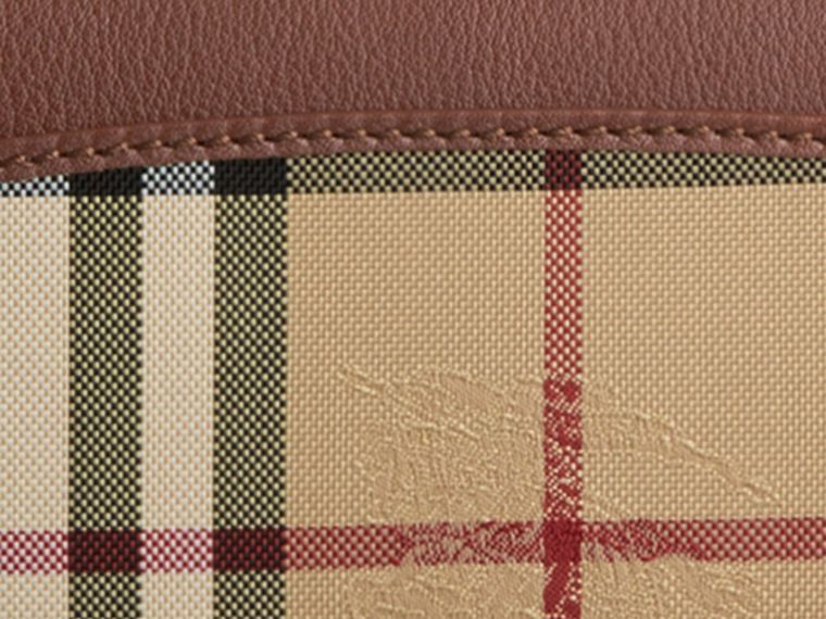 Horseferry Check and Leather Continental Wallet in Tan - Women | Burberry - cell image 1