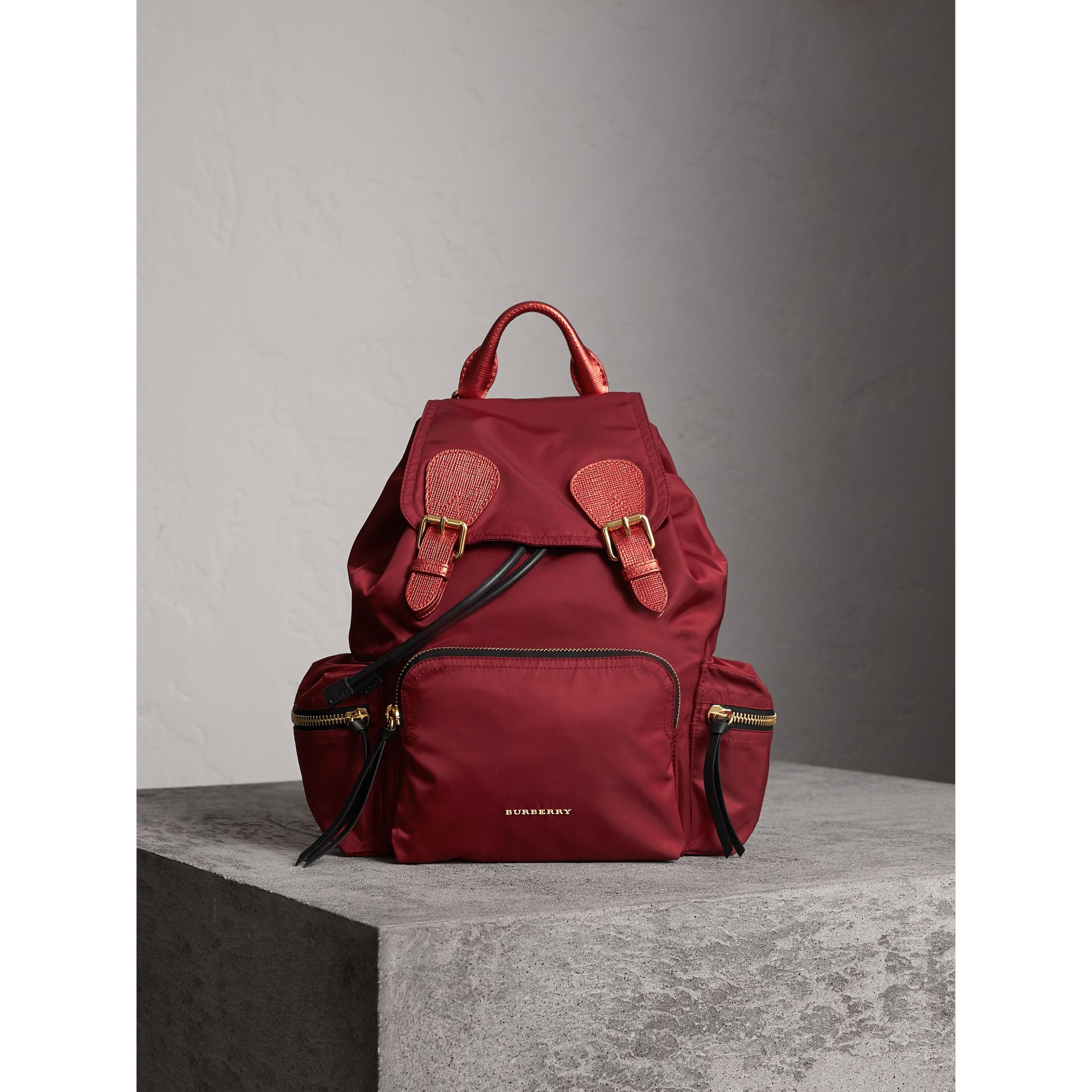 The Medium Rucksack in Technical Nylon and Leather in Crimson Red - Women | Burberry United States - gallery image 1