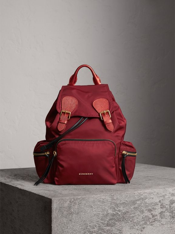 The Medium Rucksack in Technical Nylon and Leather in Crimson Red - Women | Burberry United States - cell image 1