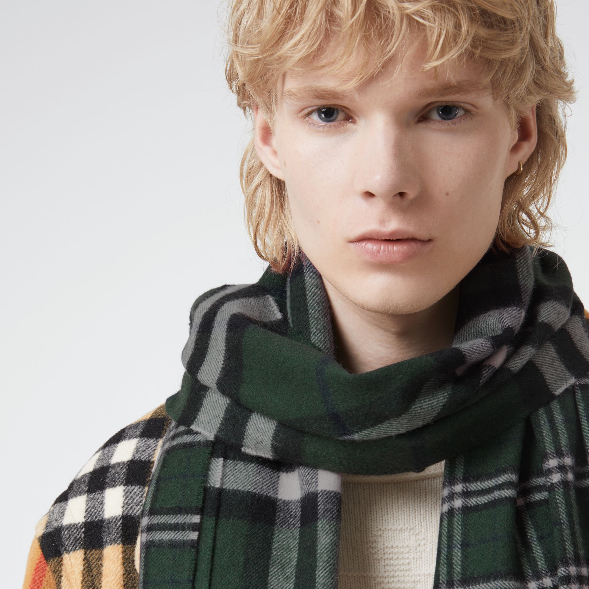 Gosha x Burberry Check Cashmere Double Scarf in Dark Forest Green | Burberry - gallery image 5