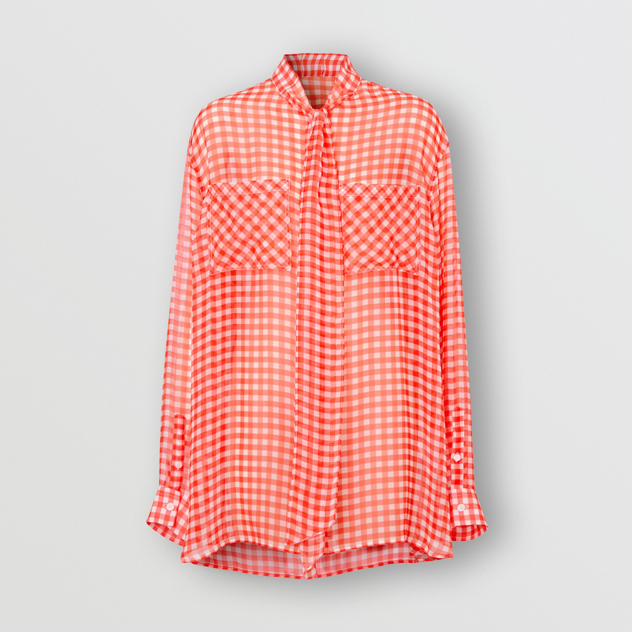 Gingham Silk Chiffon Pussy-bow Blouse in Red - Women | Burberry - 4