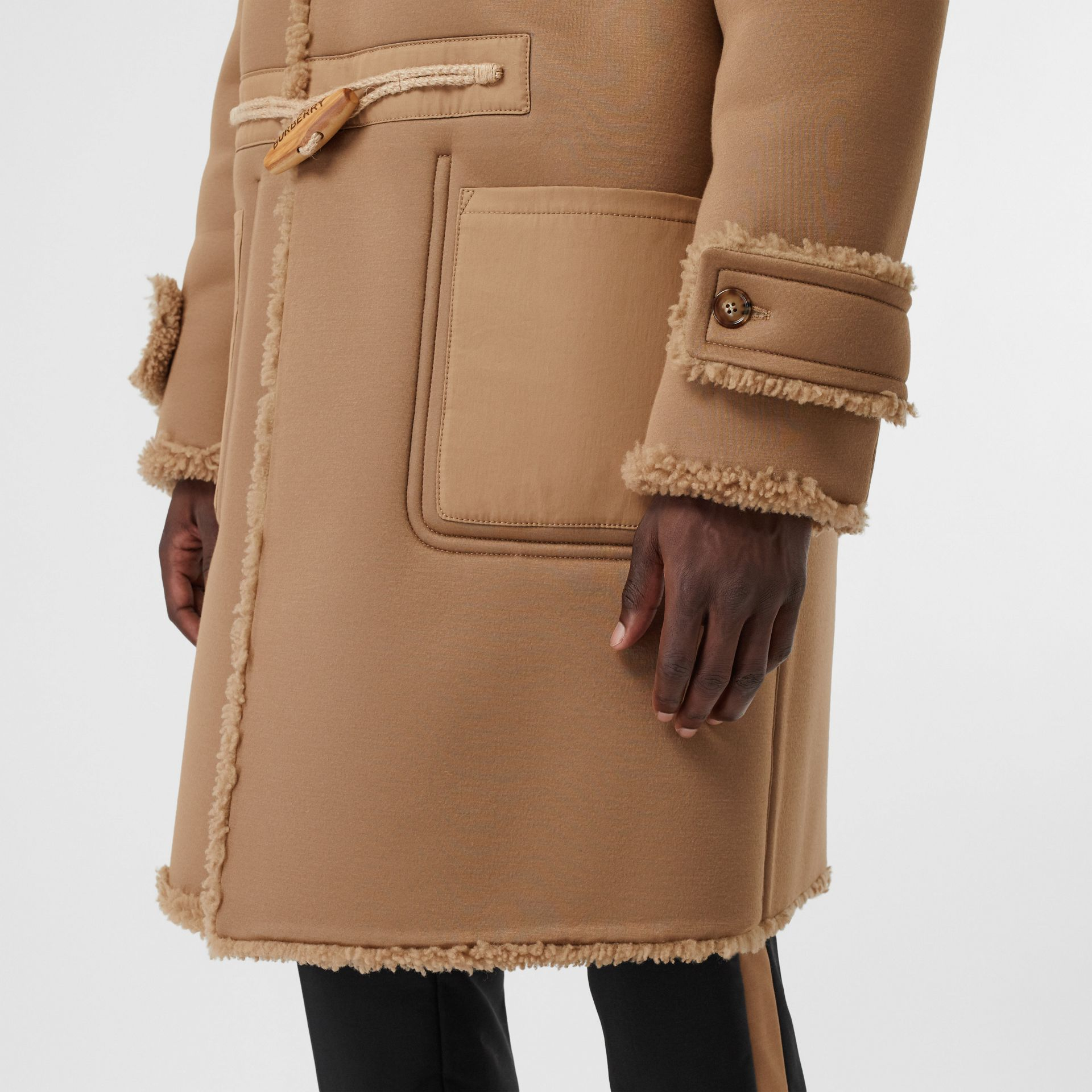 Reversible Neoprene and Shearling Hooded Duffle Coat in Warm Walnut - Men | Burberry - gallery image 4