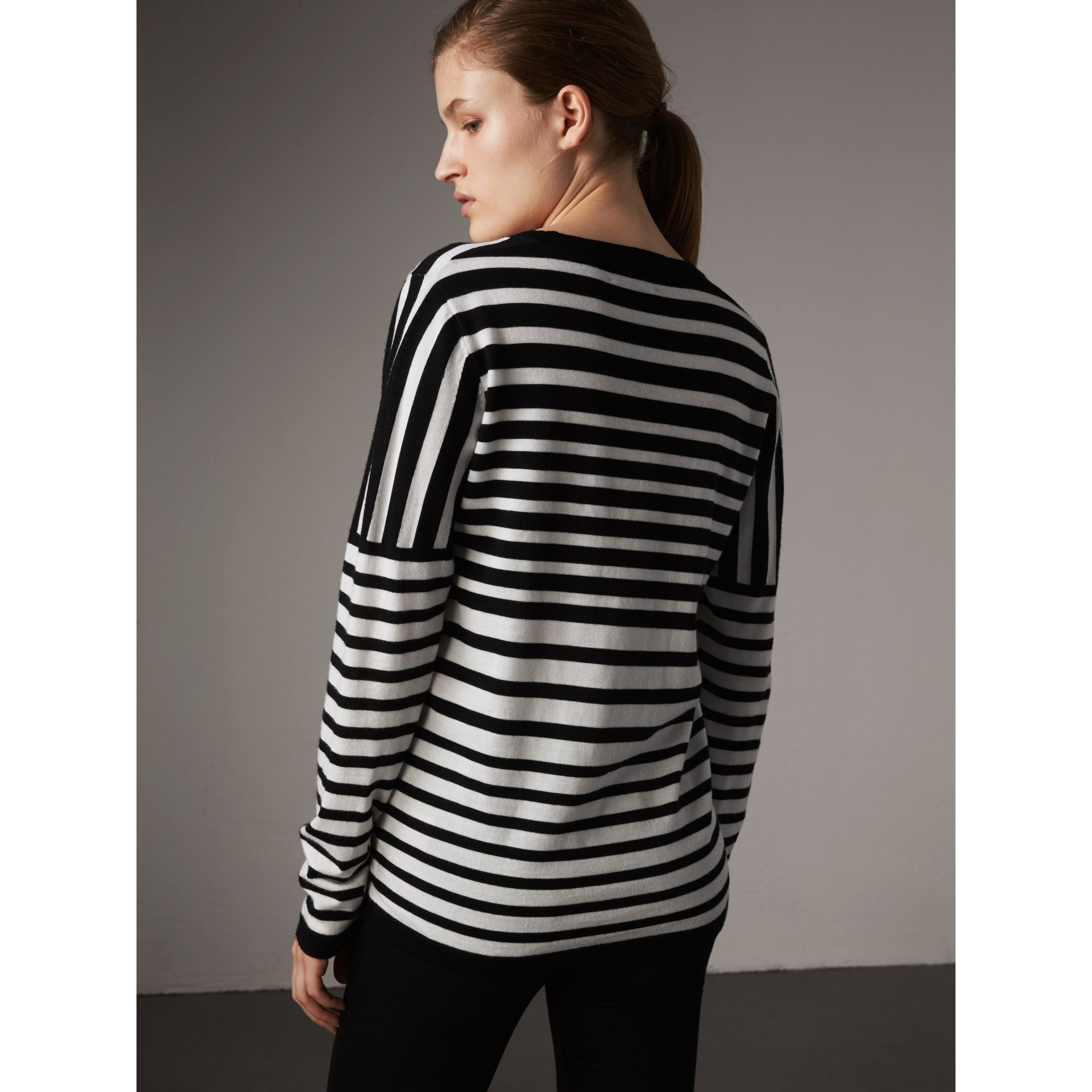 Graduated Stripe Merino Wool Sweater in Black/natural White - Women | Burberry - gallery image 3