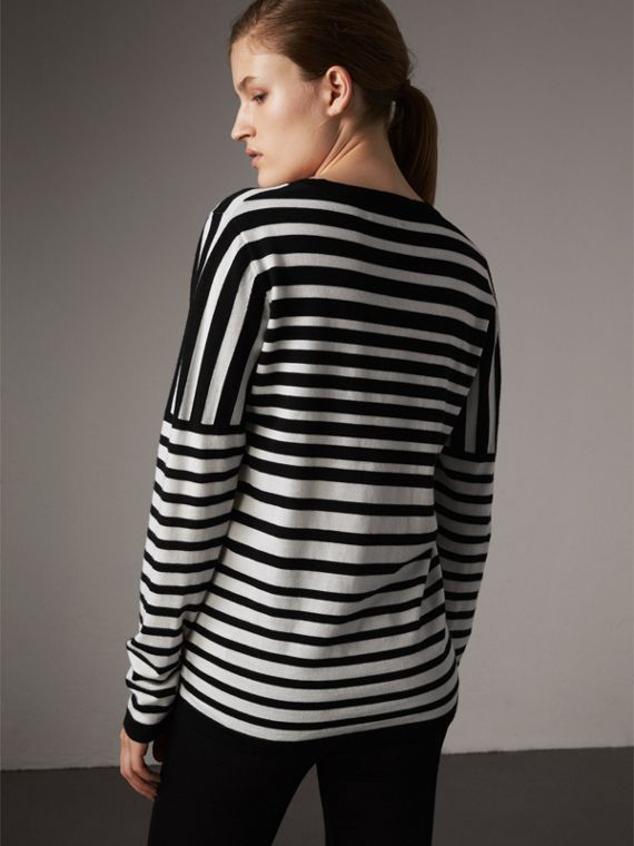 Graduated Stripe Merino Wool Sweater in Black/natural White - Women | Burberry - cell image 2