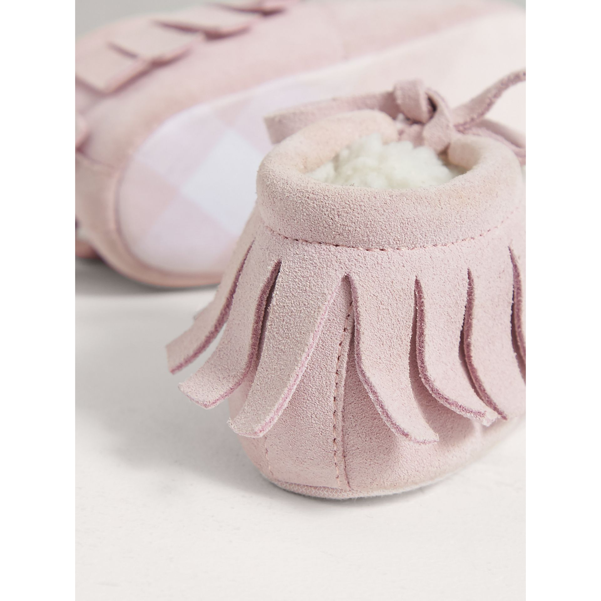 Fringed Suede and Faux Shearling Booties in Ice Pink | Burberry Australia - gallery image 3