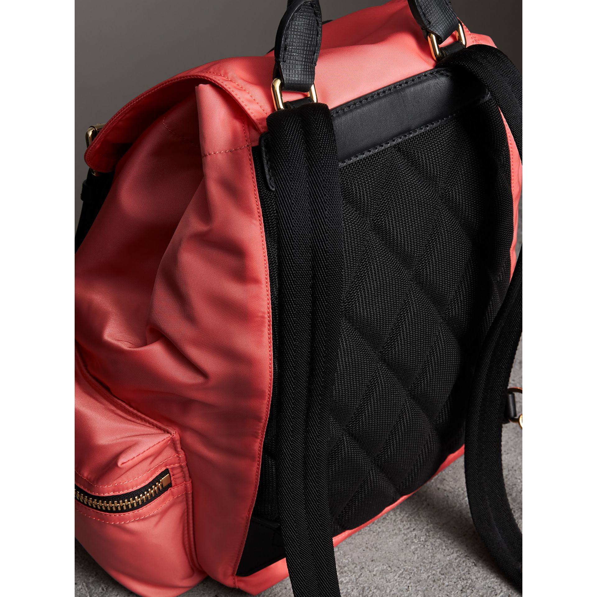 The Medium Rucksack in Technical Nylon and Leather in Bright Coral Pink - Women | Burberry - gallery image 4