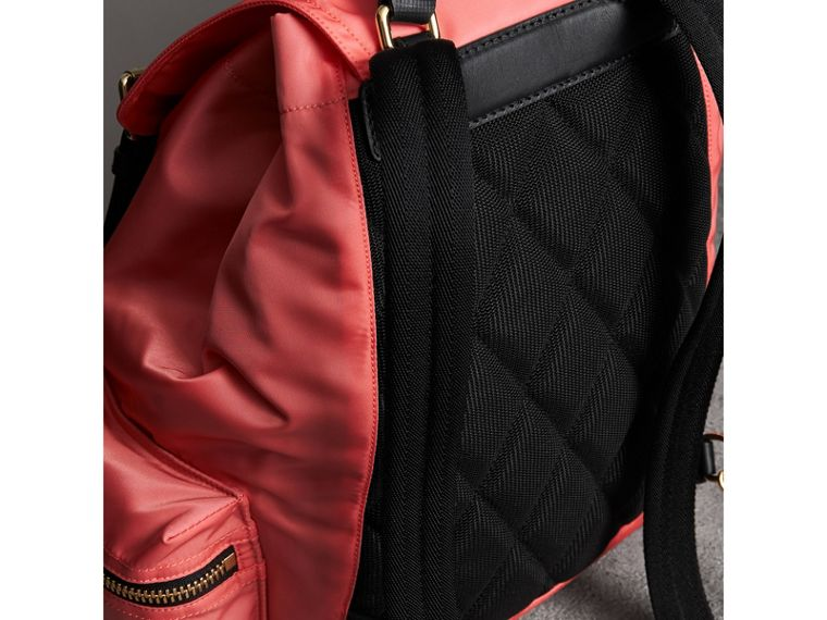 The Medium Rucksack in Technical Nylon and Leather in Bright Coral Pink - Women | Burberry - cell image 4
