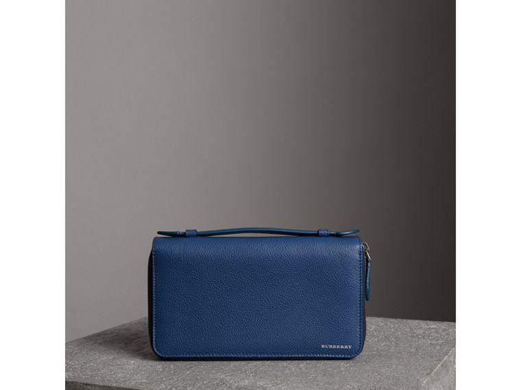 Grainy Leather Travel Wallet in Bright Ultramarine - Men | Burberry Australia - cell image 4