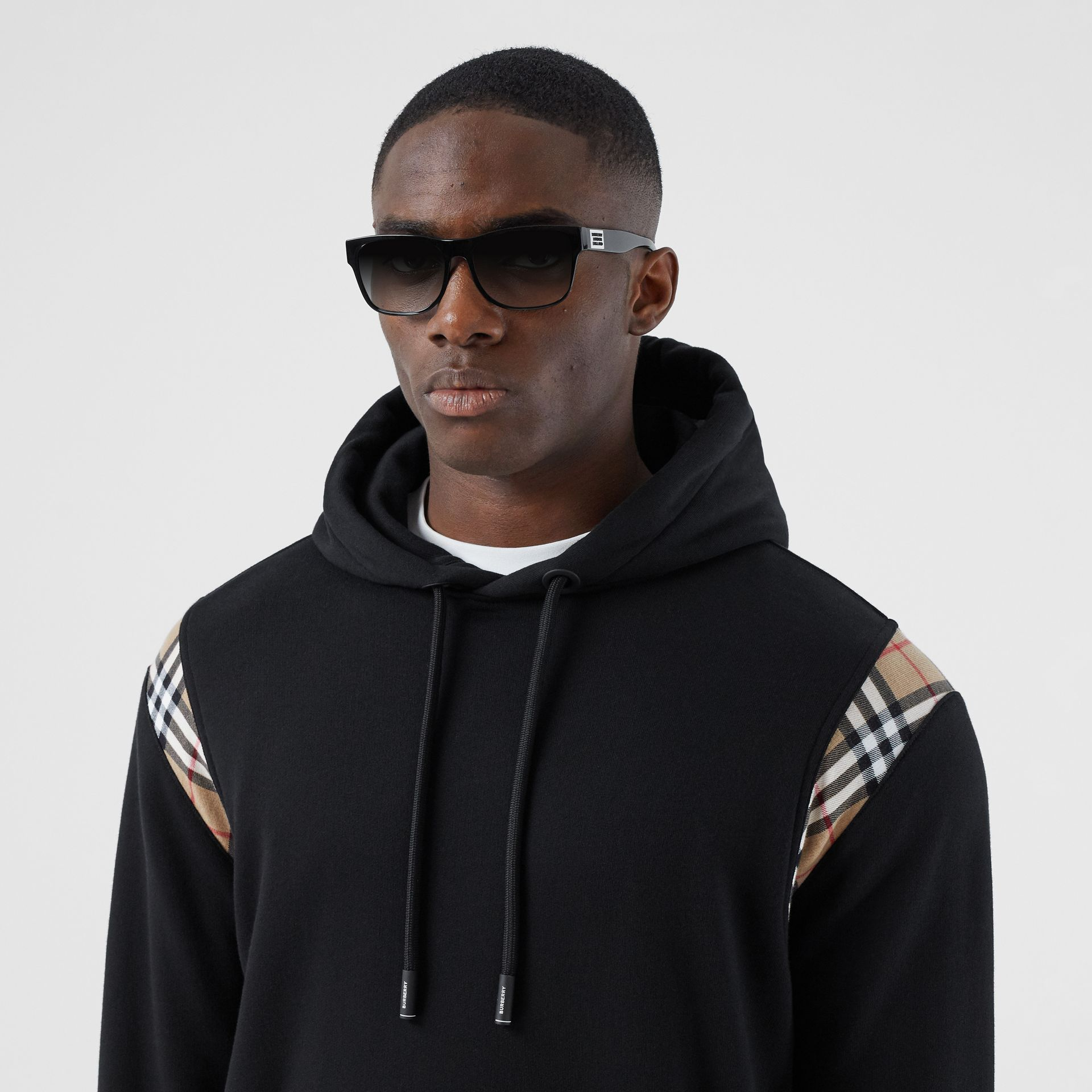 Vintage Check Panel Cotton Hoodie in Black | Burberry - gallery image 1