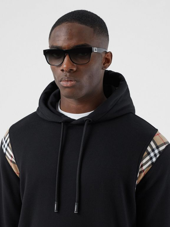 Vintage Check Panel Cotton Hoodie in Black | Burberry - cell image 1