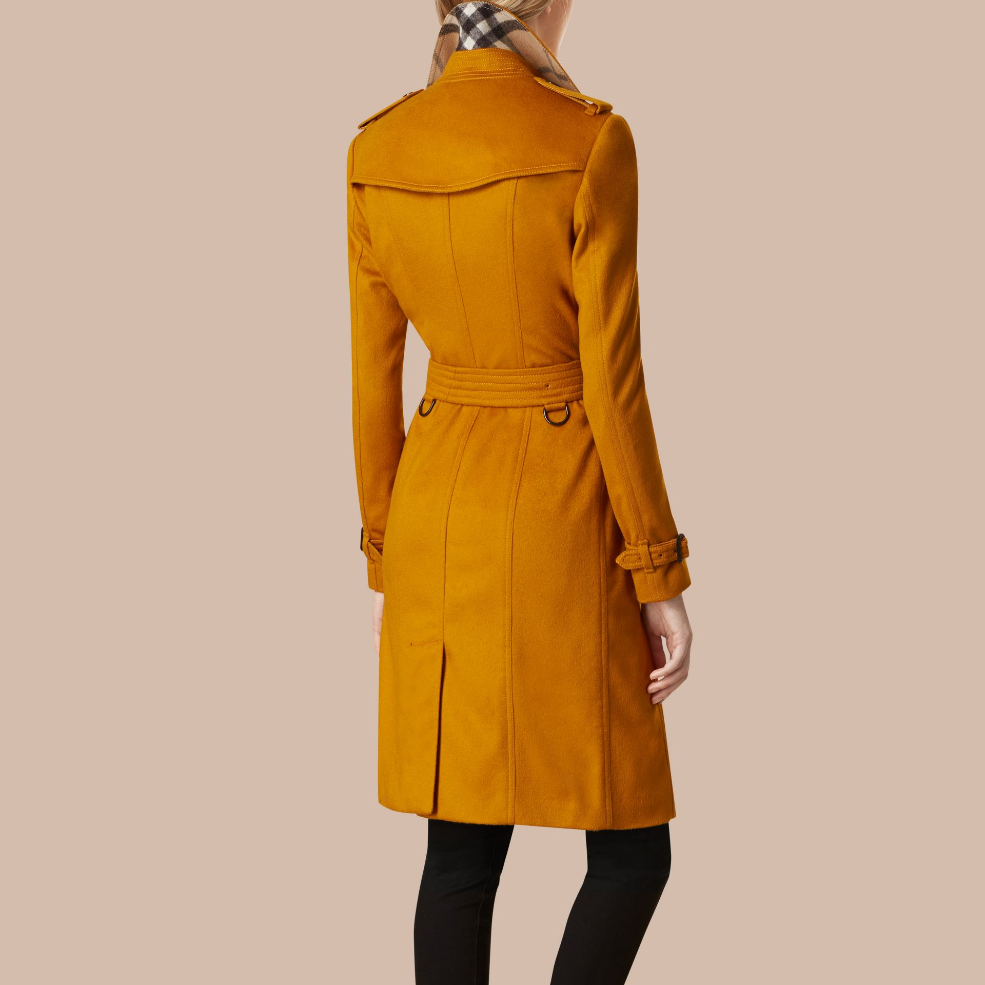 Umber yellow Sandringham Fit Cashmere Trench Coat Umber Yellow - gallery image 3