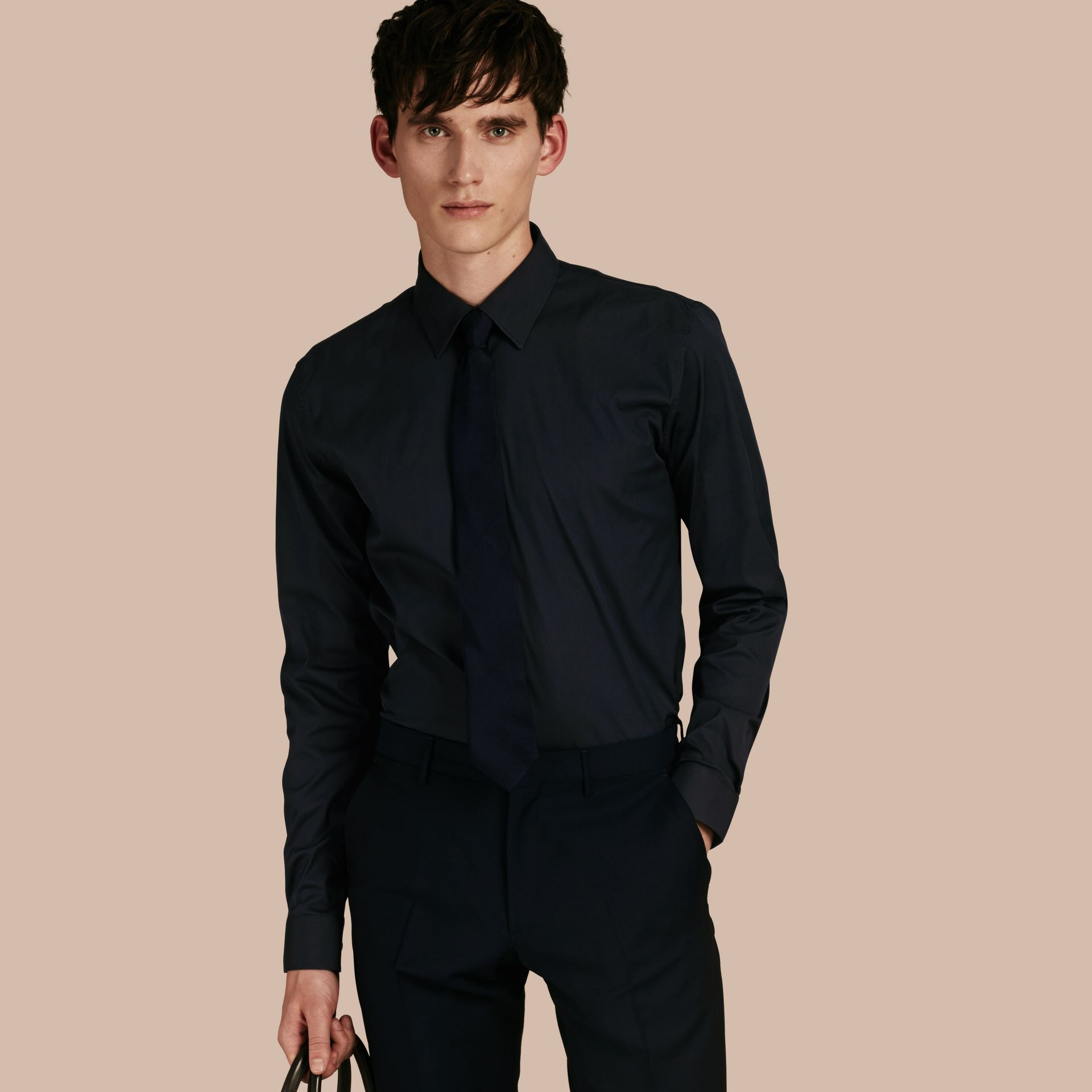 Slim Fit Stretch Cotton Shirt in Navy - gallery image 1