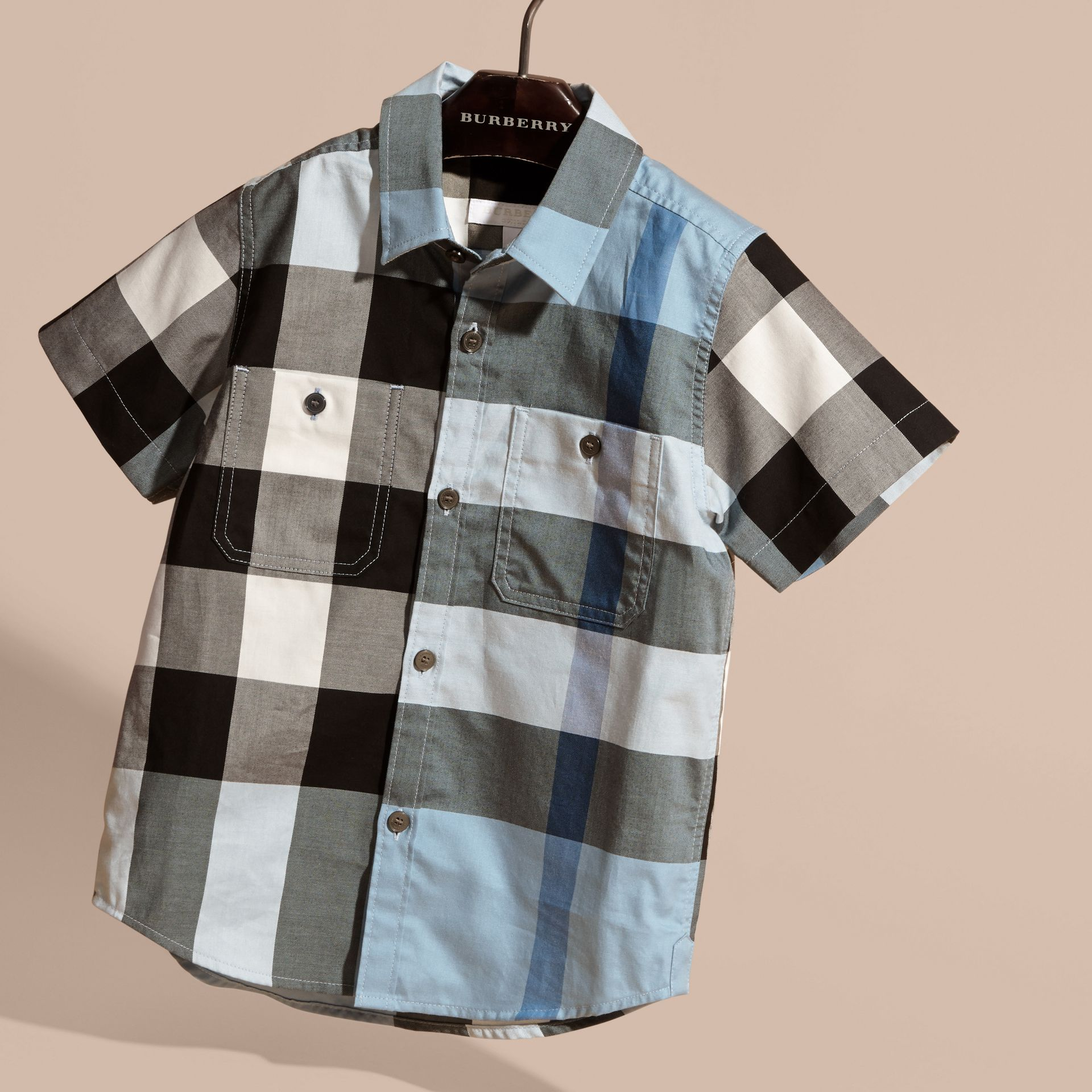 Short-sleeved Check Cotton Shirt Pale Blue - gallery image 3