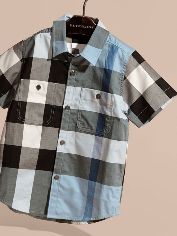 Short-sleeved Check Cotton Shirt Pale Blue - cell image 2