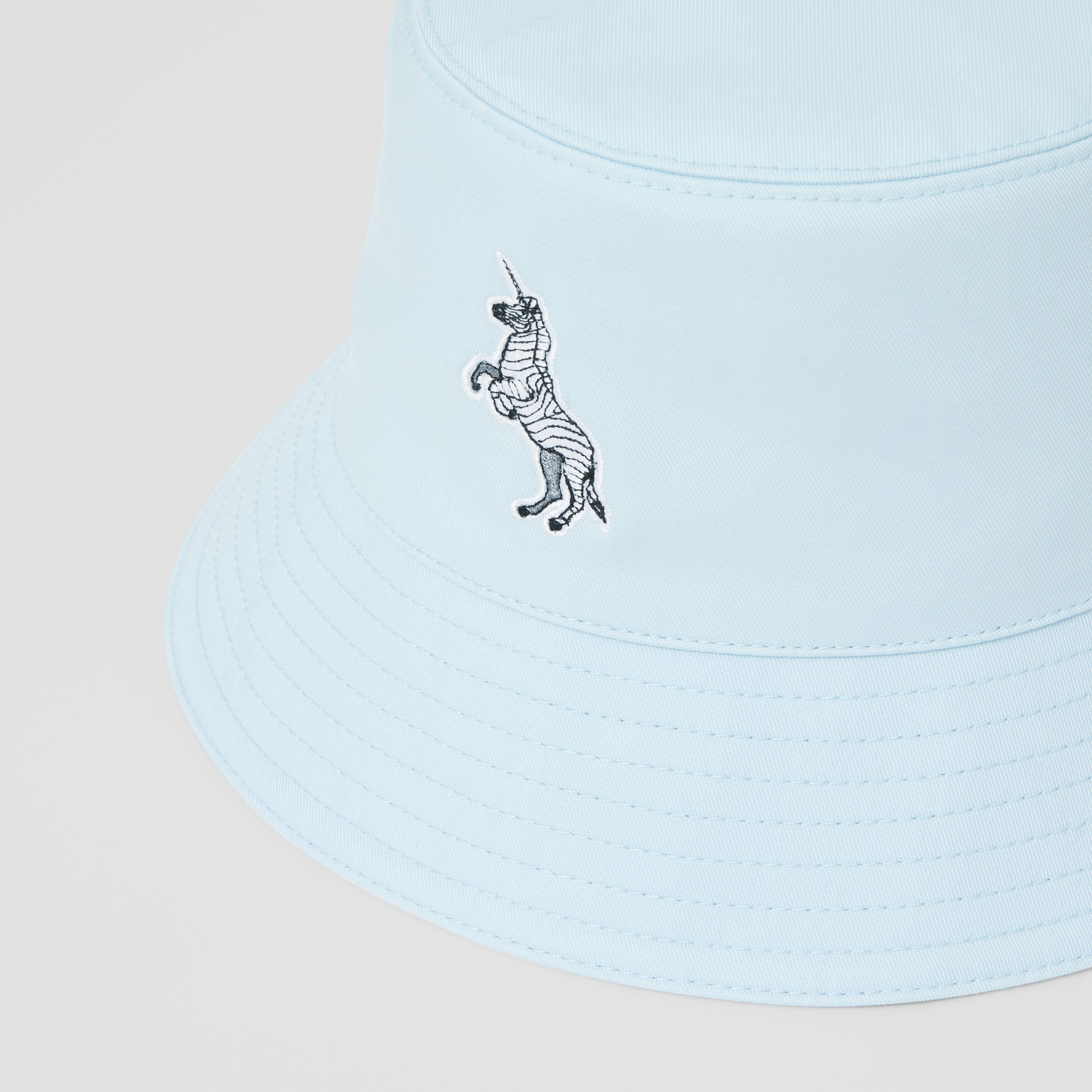 Zebra Appliqué Cotton Twill Bucket Hat in Pale Blue | Burberry - 2
