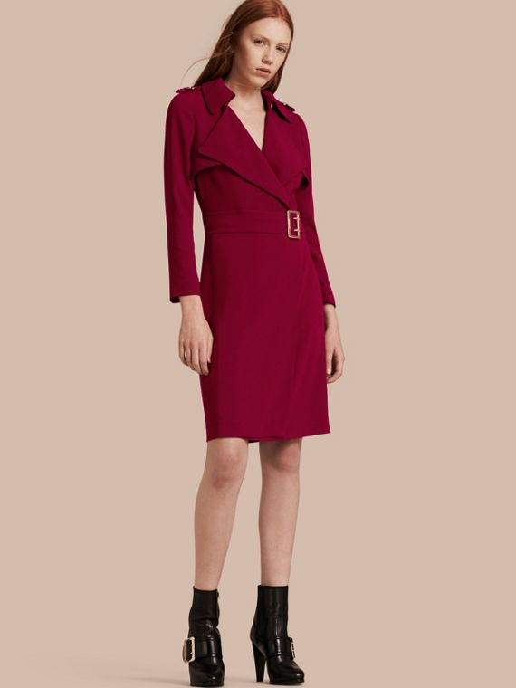 Buckle Detail Satin-back Crepe Trench Dress Garnet