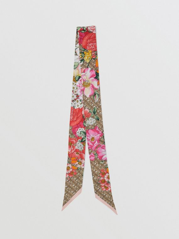 Floral and Monogram Print Silk Skinny Scarf in Archive Beige