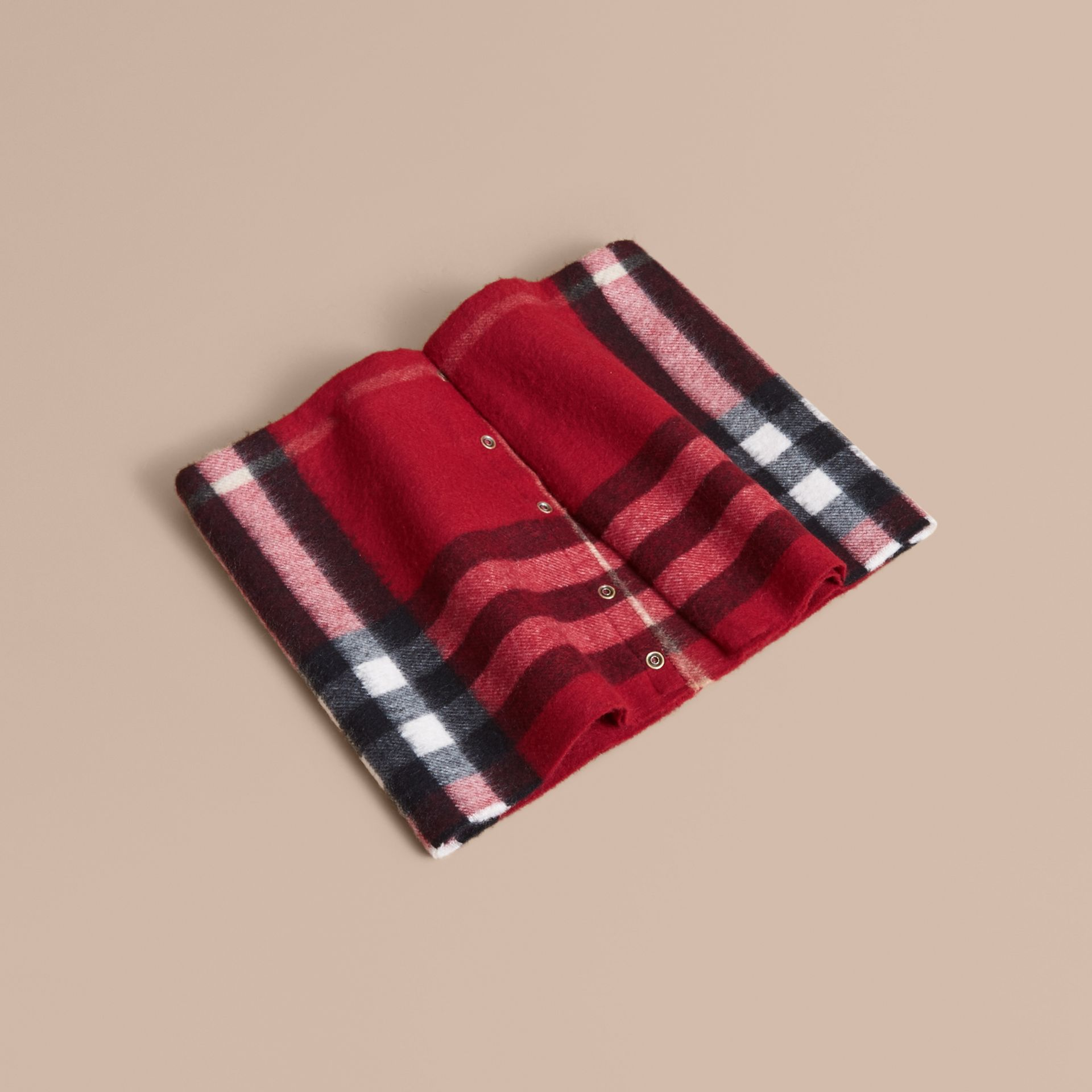 Exploded Check Cashmere Snood in Parade Red - Boy | Burberry United States - gallery image 0