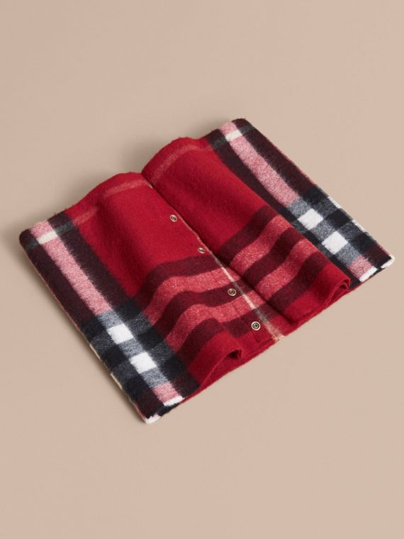 Exploded Check Cashmere Snood in Parade Red