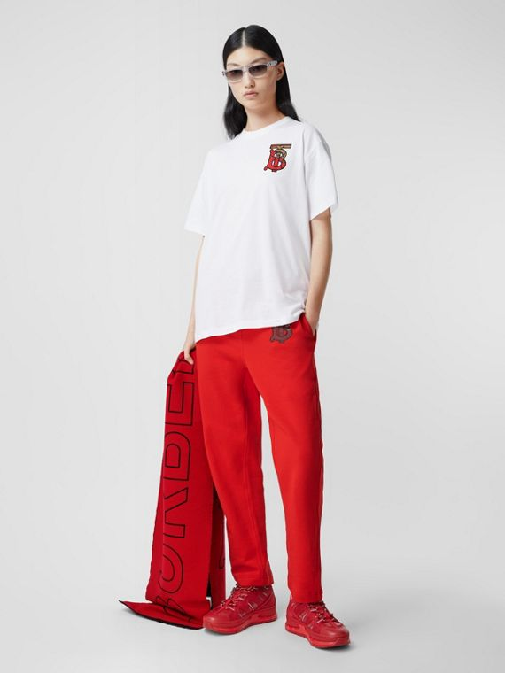 Camiseta extragrande en algodón con motivo de monograma (Blanco)