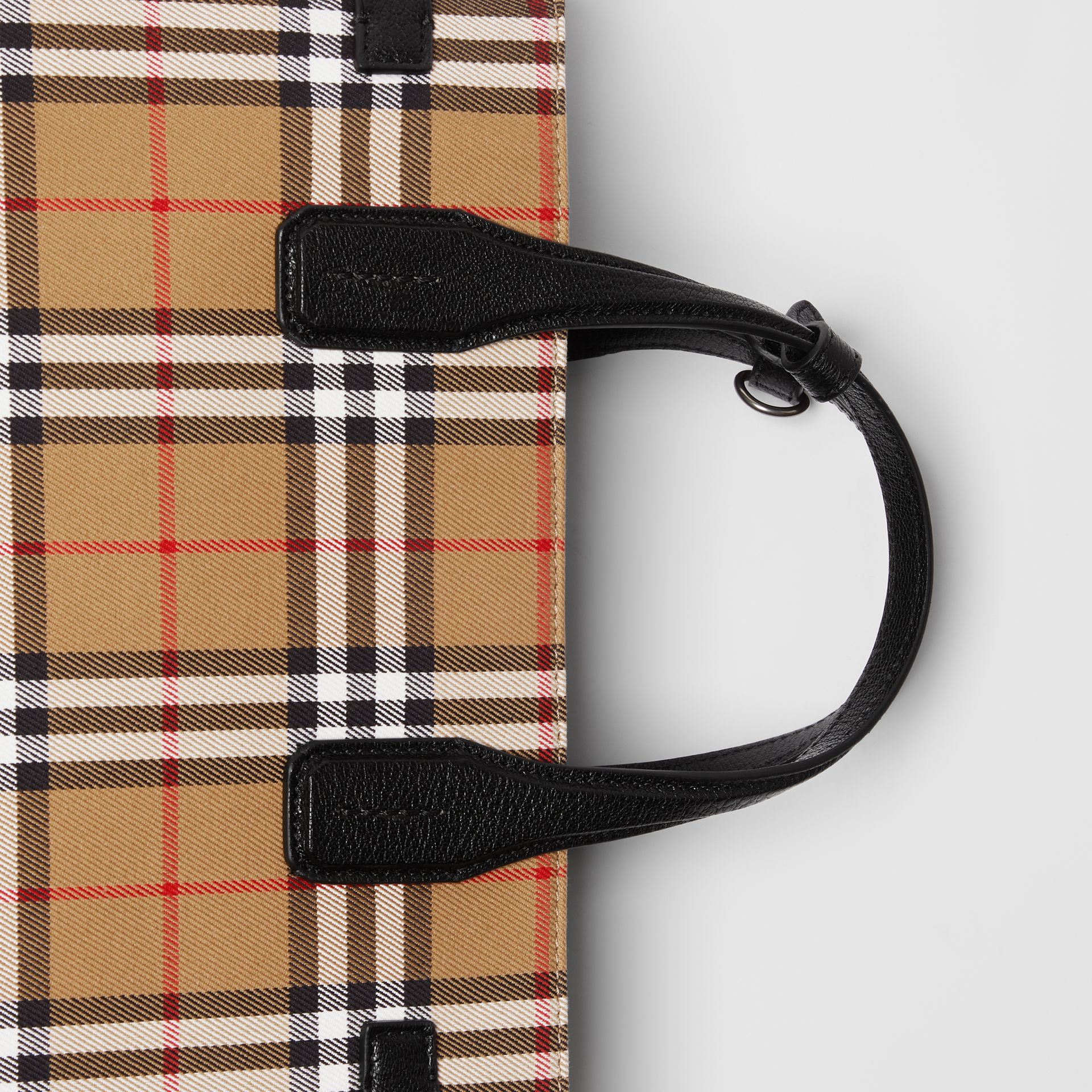 The Medium Banner in Vintage Check and Leather in Black - Women | Burberry - gallery image 1