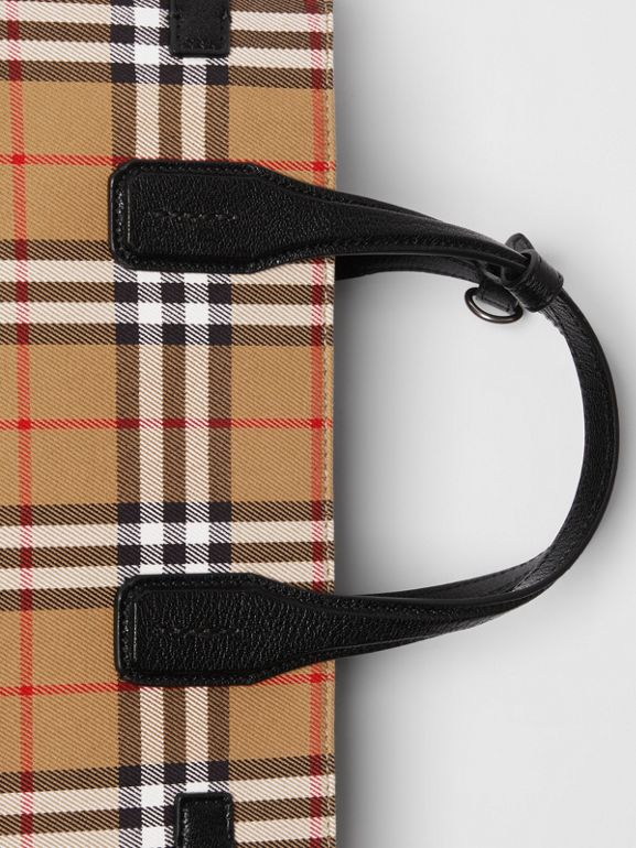 The Banner media in pelle con motivo Vintage check (Nero) - Donna | Burberry - cell image 1