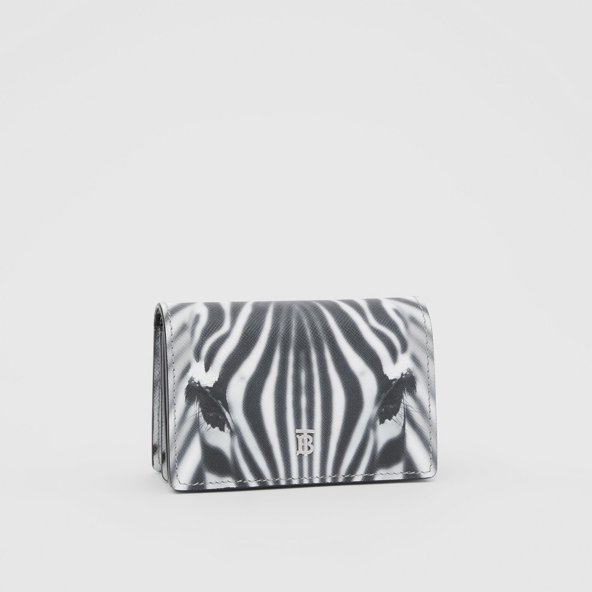 Zebra Print Leather Card Case with Detachable Strap in Black | Burberry - gallery image 8