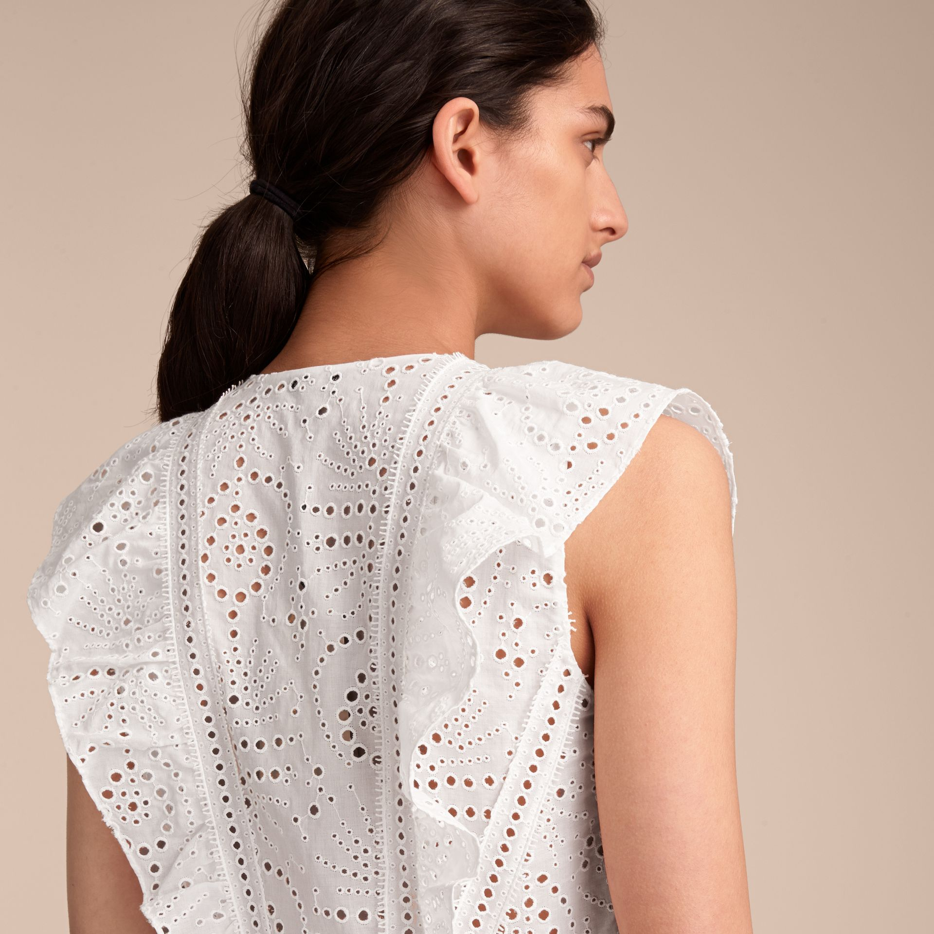 Sleeveless Broderie Anglaise Ruffle Detail Dress - Women | Burberry - gallery image 5