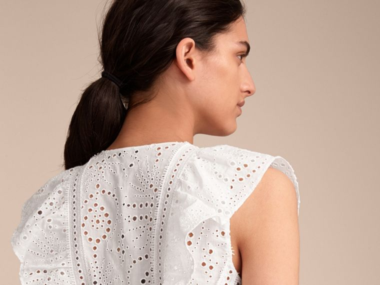 Sleeveless Broderie Anglaise Ruffle Detail Dress - Women | Burberry - cell image 4