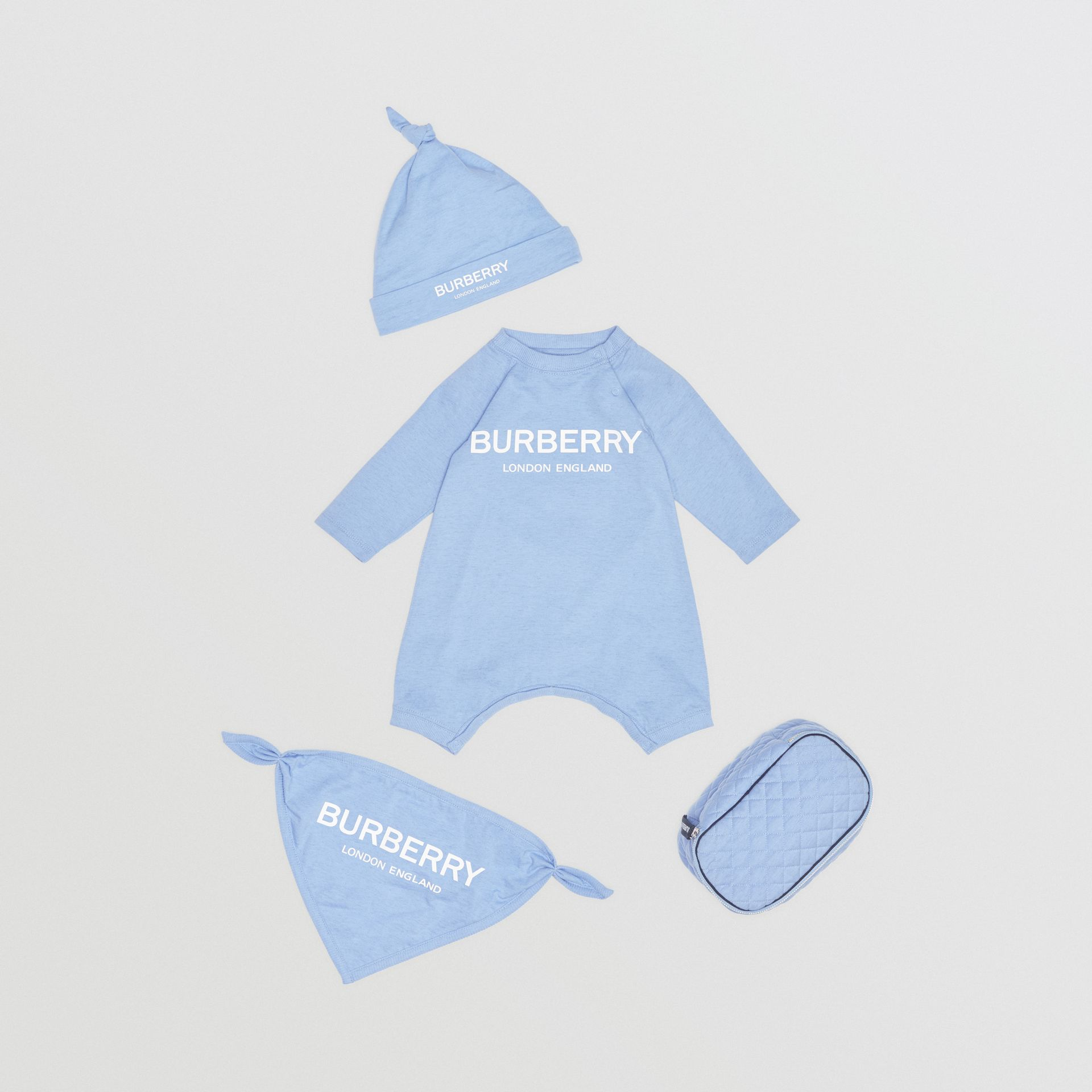 Logo Print Cotton Three-piece Baby Gift Set in Dusty Blue - Children | Burberry - gallery image 0