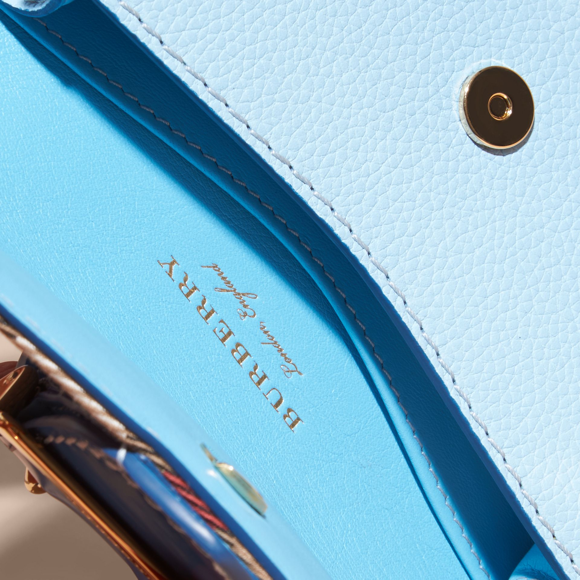 Bright mineral blue The Mini Buckle Bag in Leather and House Check Bright Mineral Blue - gallery image 6