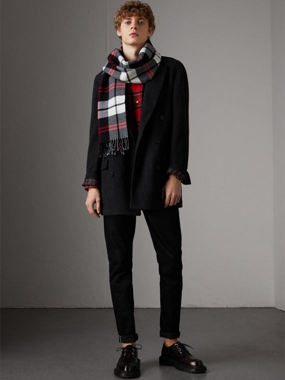 Check Merino Wool Scarf in Black | Burberry - cell image 3